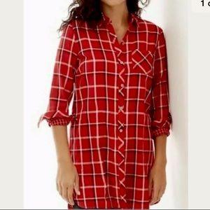 J Jill Tunic Top Size S Plaid Flannel Pockets